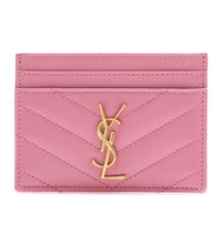 Saint Laurent Monogram Quilted Leather Card Holder Pink
