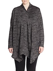 Balance Collection Plus Size Cathy Graphic Print Cardigan Heather Black