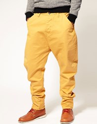 Asos Banana Chinos With Extreme Wash Mustard Yellow