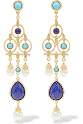 Ben Amun Gold Tone Faux Pearl And Stone Earrings Blue