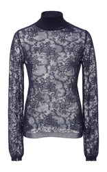 Oscar De La Renta Long Sleeve Lace Turtleneck Navy