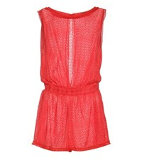 Missoni Mare Crochet Knit Playsuit Red