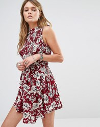 Kiss The Sky High Neck Dress In Floral Print Red