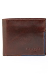 Ted Baker Men's London 'Carouse' Bifold Leather Wallet Brown Tan