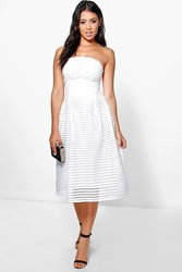 Boohoo Panelled Midi Full Skirt Skater Dress Ivory