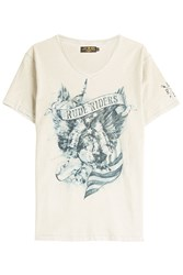 Rude Riders American Eagle Printed Cotton T Shirt Beige