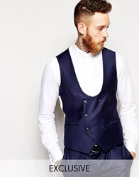 Noose And Monkey Double Breasted Vest With Stretch In Super Skinny Fit Navy