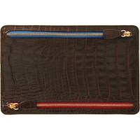 Smythson Men's Croc Stamped Currency Case Brown