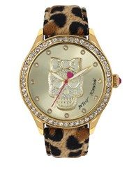 Betsey Johnson Skull Motif Dial And Leopard Print Leather Strap Watch Brown