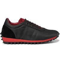 Burberry Lowland Leather Trimmed Suede And Shell Sneakers Black