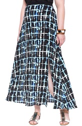 Eloquii Plaid Print Chiffon Maxi Skirt Plus Size Shibori Plaid