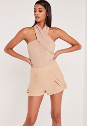 Missguided Carli Bybel Faux Suede Wrap Neck Bodysuit Nude Red