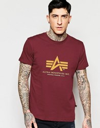 Alpha Industries T Shirt With Logo In Burgundy Burgundy Red