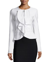 Herve Leger Ruffle Front Fitted Jacket Alabaster