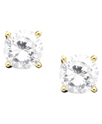 B. Brilliant 18K Gold Over Sterling Silver Cubic Zirconia Stud Earrings 1 Ct. T.W.