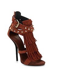 Giuseppe Zanotti Studded Suede Fringe Sandals Dark Brown