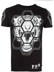 Philipp Plein Geometric Tiger Print T Shirt Black