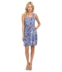 Yumi Loose Fit Beach Dress In Soft Washed Palm Tree Print Blue Women's Dress