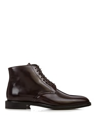 Burberry Lace Up High Shine Leather Boots