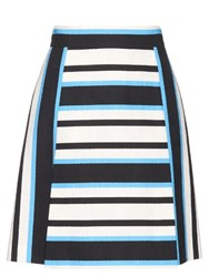 Dolce And Gabbana Tri Colour Striped A Line Skirt Navy White
