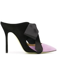 Giannico Bow Detail Mules Pink And Purple