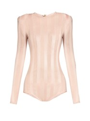 Balmain Striped Mesh Knit Bodysuit Light Pink