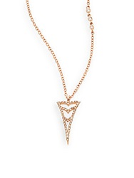 Phyne By Paige Novick Champagne Diamond And 14K Rose Gold Arrow Pendant Necklace