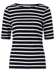 John Lewis Breton Stripe Half Sleeve T Shirt Black White