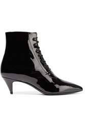 Saint Laurent Cat Patent Leather Ankle Boots Black
