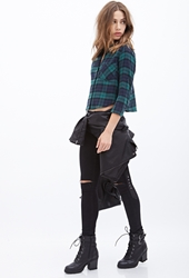 Forever 21 Collared Plaid Flannel Shirt Green Navy