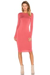Blq Basiq Long Sleeve Midi Dress Coral