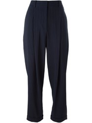 Donna Karan Pinstriped Tapered Trousers Blue