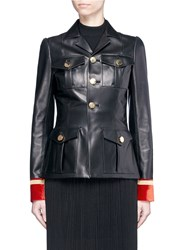 Givenchy Embroidered Velvet Cuff Leather Military Jacket Black