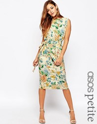 Asos Petite Belted Dress With Split Cap Sleeve And Pencil Skirt In Floral Print Pink Floral