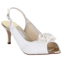 Rainbow Club Sienna Slingback Peep Toe Court Shoes Ivory Satin And Lace