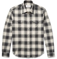 Maison Martin Margiela Checked Cotton Flannel Shirt Gray
