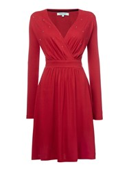 Dickins And Jones Jersey Wrap Dress With Embellishment Red