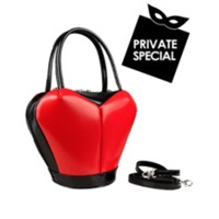 Fontanelli Heart Shape Italian Polished Leather Handbag Red
