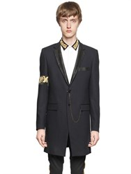 Lords And Fools Leather Lapel And Wool Crepe Long Jacket