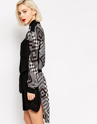 L.A.M.B. L.A.M.B Hi Lo Long Sleeve Shirt Dress Blackivory