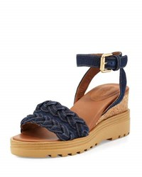 See By Chloe Bretone Braided Denim Wedge Sandal