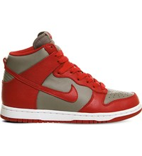 Nike Dunk Retro Qs Leather High Top Trainers Grey Red Qs