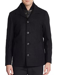 Mackage Doug Wool And Cashmere Blend Coat And Puffer Vest Black