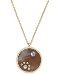 Kate Spade New York Out Of Her Shell Gold Tone Tortoiseshell Look Pendant Necklace Brown