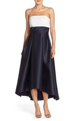 Women's Carmen Marc Valvo Infusion Beaded Colorblock High Low Gown