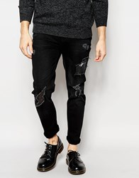 Hoxton Denim Black With Heavy Distressing Skinny Jean Black