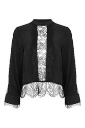 Topshop Lace Insert Long Sleeve Blouse Black