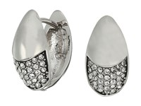 Cole Haan Half Pave Teardrop Huggie Earrings Rhodium Crystal Earring Silver