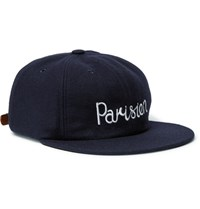 Maison Kitsune Embroidered Wool Blend Felt Baseball Cap Midnight Blue
