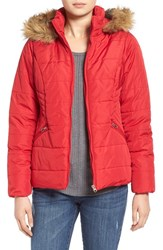 Junior Women's Krush Hooded Puffer Coat With Faux Fur Trim Red